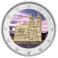 Saksa 2 € 2021 Sachsen-Anhalt & Madgeburg, väritetty (#1)