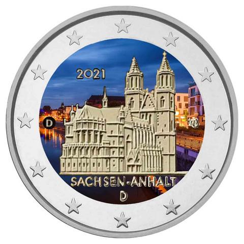Saksa 2 € 2021 Sachsen-Anhalt & Madgeburg, väritetty (#2)