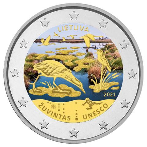 Liettua 2 € 2021 Zuvintasin biosfäärialue, väritetty (#1)
