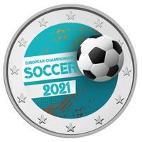 UEFA Jalkapallon EM-kisat 2 € 2021 juhlaraha, väritetty