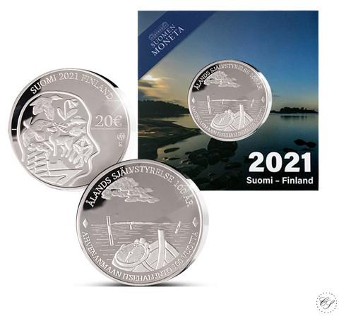 Suomi 20 € 2021 Ahvenanmaan itsehallinto 100 v. Ag, proof, numeroitu
