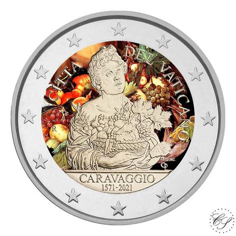 Vatikaani 2 € 2021 Caravaggio BU, väritetty (#1)