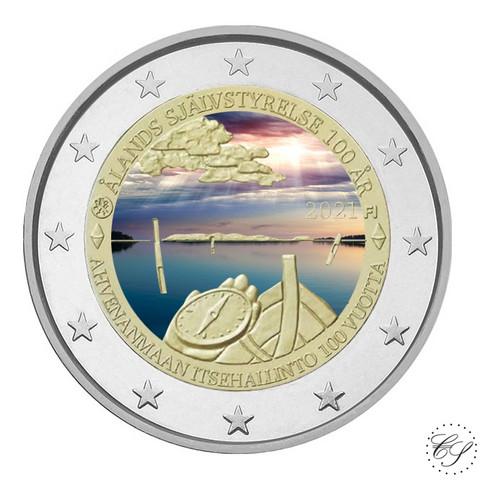 Suomi 2 € 2021 Ahvenanmaan itsehallinto 100 v., väritetty (#1)