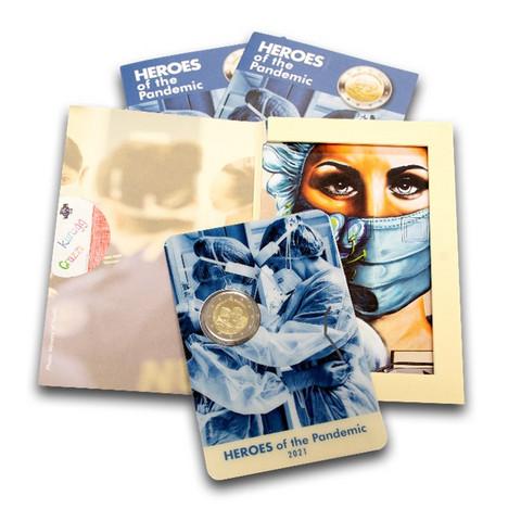 Malta 2 € 2021 Pandemian sankarit, coincard