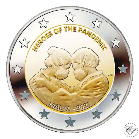 Malta 2 € 2021 Pandemian sankarit