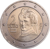 Itävalta 2 € 2021 Bertha von Suttner UNC