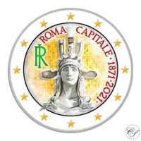 Italia 2 € 2021 Pääkaupunki Rooma 150 vuotta, väritetty (#3)
