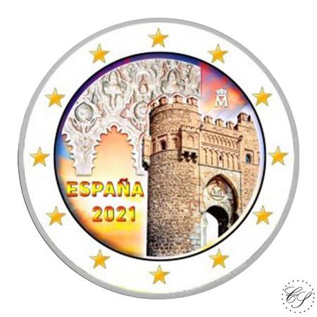 Espanja 2 € 2021 Toledo - Puerta del Sol, väritetty (#3)