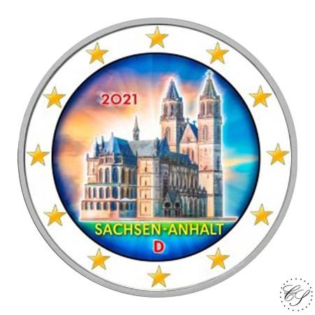 Saksa 2 € 2021 Sachsen-Anhalt & Madgeburg, väritetty (#3)