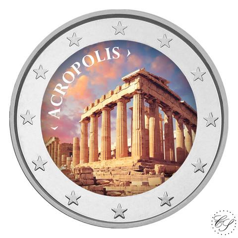 Akropolis-kukkula 2 € 2021 juhlaraha, väritetty