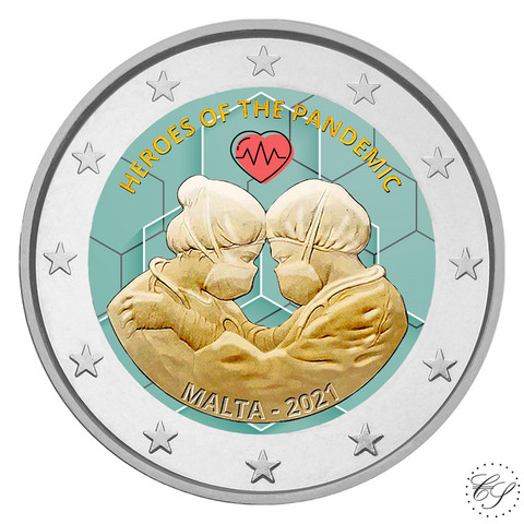 Malta 2 € 2021 Pandemian sankarit, väritetty (#1)