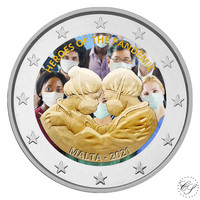 Malta 2 € 2021 Pandemian sankarit, väritetty (#2)
