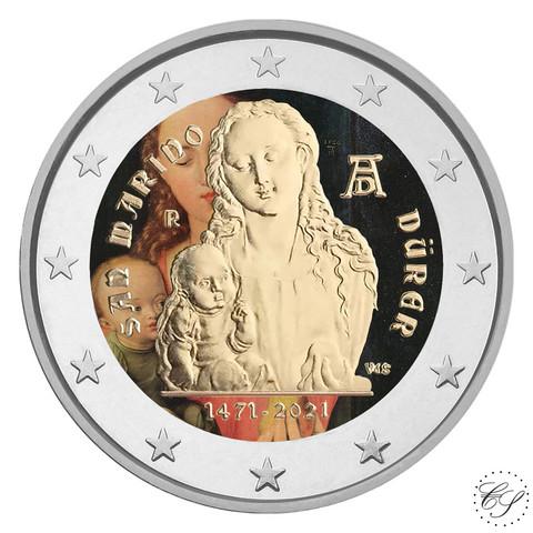 San Marino 2 € 2021 Albrecht Durer BU, väritetty (#2)