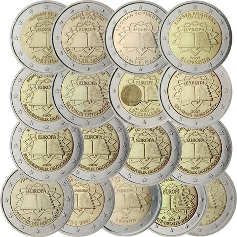 Rooman Sopimus 2 € 2007 kaikki maat, 13 kolikkoa