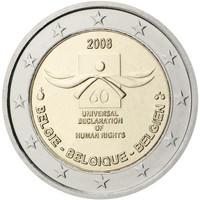 Belgia 2 € 2008 Ihmisoikeuksien julistuksen 60. juhlavuosi