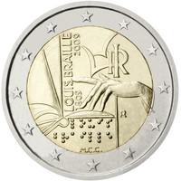 Italia 2 € 2009 Louis Braille