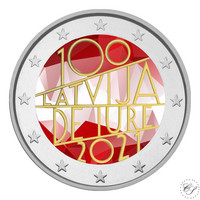 Latvia 2 € 2021 De Iure 100, väritetty (#1)