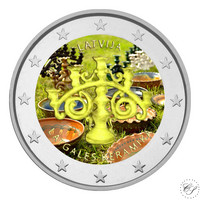 Latvia 2 € 2020 Latgalen keramiikka, väritetty (#2)