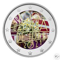 Latvia 2 € 2021 De Iure 100, väritetty (#2)