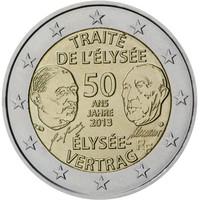 Ranska 2 € 2013 50 vuotta Élysée-sopimuksen allekirjoittamisesta