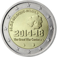 Belgia 2 € 2014 Ensimmäinen maailmansota 100 vuotta