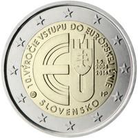 Slovakia 2 € 2014 EU:in liittymisen 10-vuotispäivä