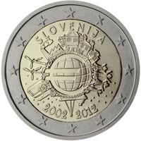 Slovenia 2 € 2012 Euro 10 vuotta