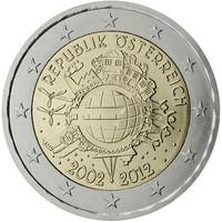 Itävalta 2 € 2012 Euro 10 vuotta