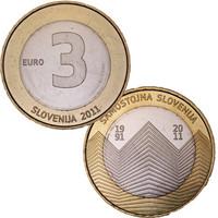 Slovenia 3 € 2011 Itsenäisyys 20 vuotta