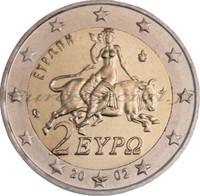 Kreikka 2 € 2002 Zeus & Europa S-kirjain UNC