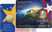 Slovakia 2 € 2014 EU:in liittymisen 10-vuotispäivä BU coincard