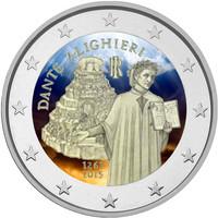 Italia 2 € 2015 Dante Alighieri väritetty