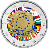 Suomi 2 € 2015 EU:n lippu 30 vuotta väritetty