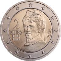 Itävalta 2 € 2008 Bertha von Suttner UNC