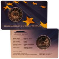 Latvia 2 € 2015 EU:n lippu 30 vuotta coincard