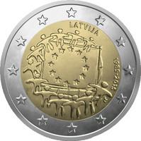 Latvia 2 € 2015 EU:n lippu 30 vuotta
