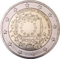 Saksa 2 € 2015 EU:n lippu 30 vuotta
