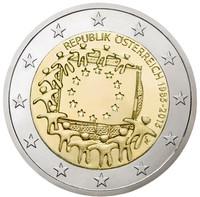 Itävalta 2 € 2015 EU:n lippu 30 vuotta