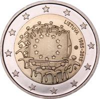 Liettua 2 € 2015 EU:n lippu 30 vuotta