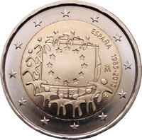 Espanja 2 € 2015 EU:n lippu 30 vuotta