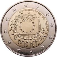 Ranska 2 € 2015 EU:n lippu 30 vuotta