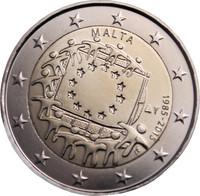 Malta 2 € 2015 EU:n lippu 30 vuotta
