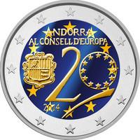 Andorra 2 € 2014 Euroopan Neuvosto 20 vuotta väritetty
