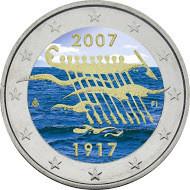 Suomi 2 € 2007 Itsenäisyys 90 vuotta väritetty