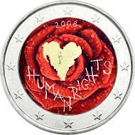 Suomi 2 € 2008 Ihmisoikeuksien julistuksen 60. juhlavuosi väritetty