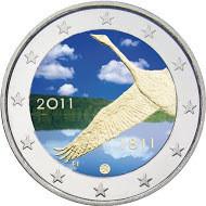 Suomi 2 € 2011 Suomen pankki 200 vuotta väritetty