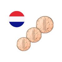 Alankomaat 1s, 2s & 5s 2016 UNC