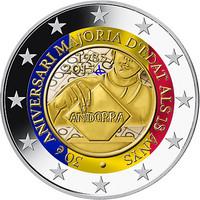 Andorra 2 € 2015 Täysi-ikäisyys 18 vuotta väritetty