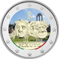 Italia 2 € 2016 Tito Maccio Plauto väritetty
