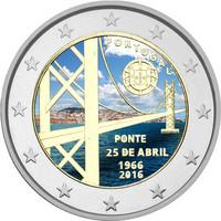 Portugali 2 € 2016  Ponte 25 de Abril- silta 50 v. väritetty